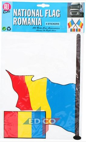 Stickers vlag Roemenië, 4 stuks