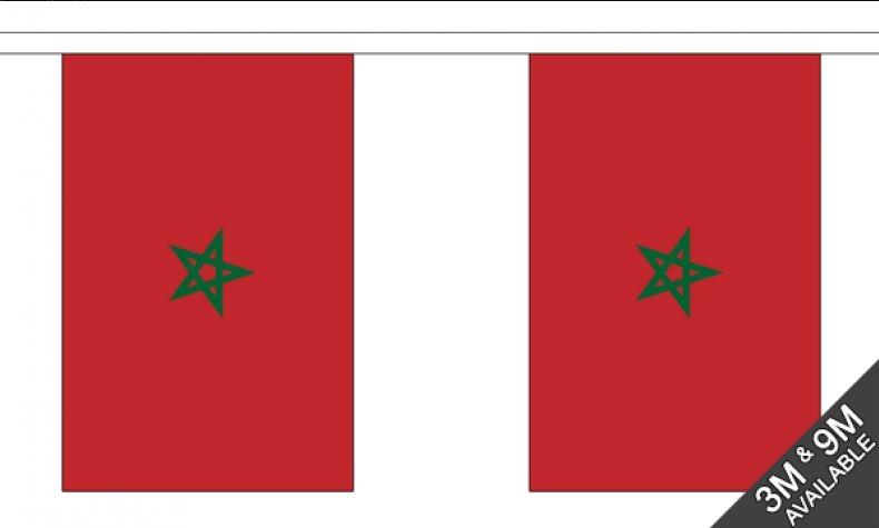 Marokaanse vlaggenlijn slinger 3 meter lang