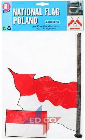 Vlag sticker Polen 4 stuks, 2 varianten