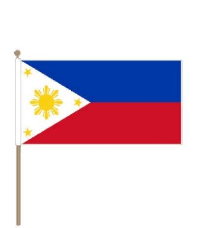 Zwaaivlag Filipijnen | Filipijnse zwaaivlaggen 30x45cm stoklengte 60 cm