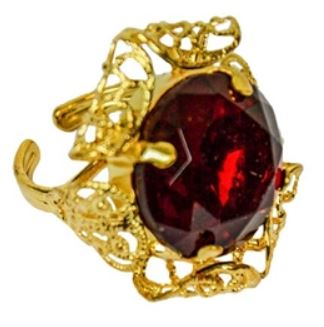 Sinterklaas ring goud met ronde steen in rood