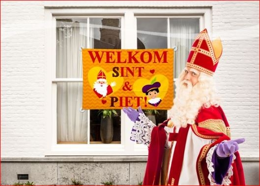 Sinterklaasvlag raamvlag welkom Sinterklaas