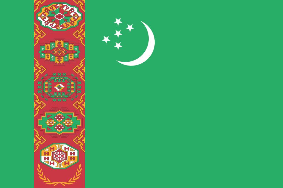 Turkmeense tafelvlag 10x15cm | tafelvlaggen Turkmenistan