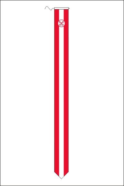 Leidse wimpel 25x300cm met koord en lus