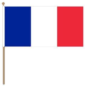 Zwaaivlag Frankrijk XXL rood/wit/blauw 90x150cm met stok van 135cm
