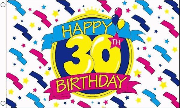 Vlag 30ste verjaardag happy birthday, 90x150cm