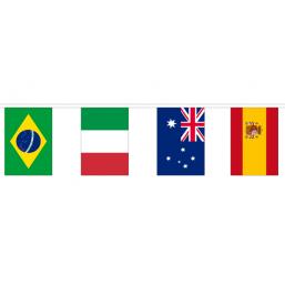 Vlaggenlijn met 50 verschillende Internationale vlaggen 30x45cm lengte 30m