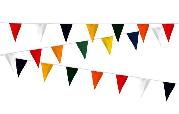 Vlaggenlijn vrolijke kleuren 12m, brandvertragend, brandwerend