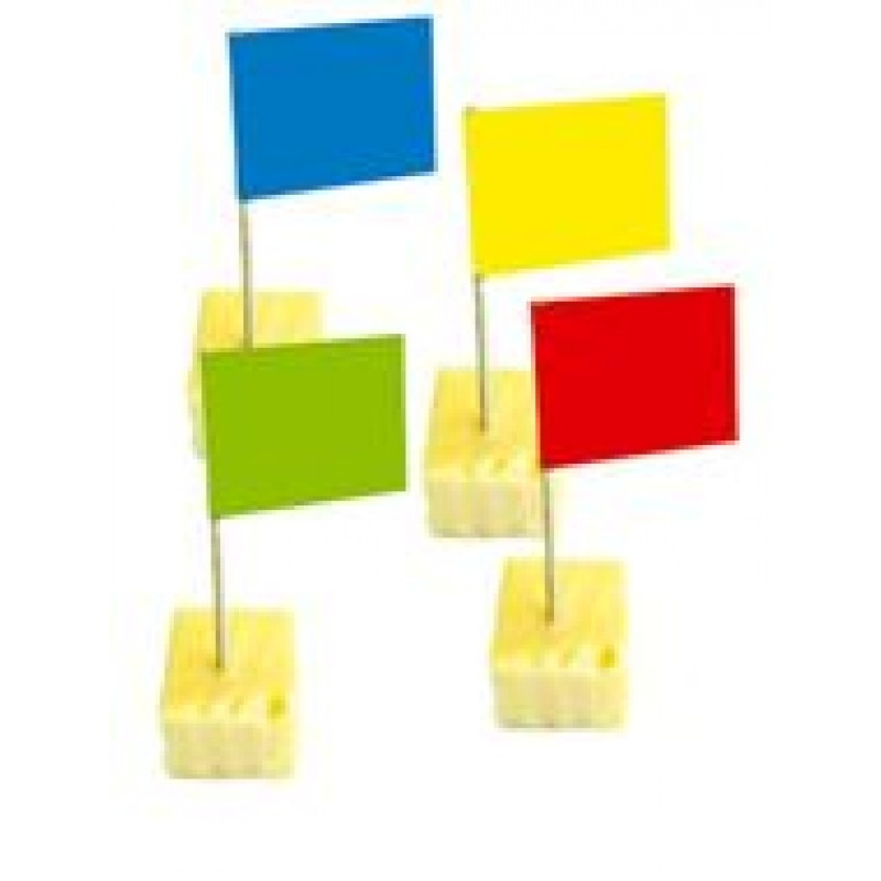 Kaasprikkers met vrolijk gekleurde vlaggetjes 50 stuks
