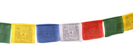 Tibetaanse gebedsvlaggen aan gekleurd koord in formaat middel