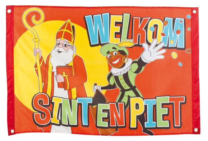 Welkom Sint en Piet vlag Sinterklaasvlag