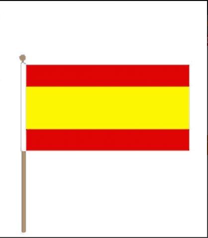 Zwaaivlag Spanje 15x22,5cm stoklengte 30cm