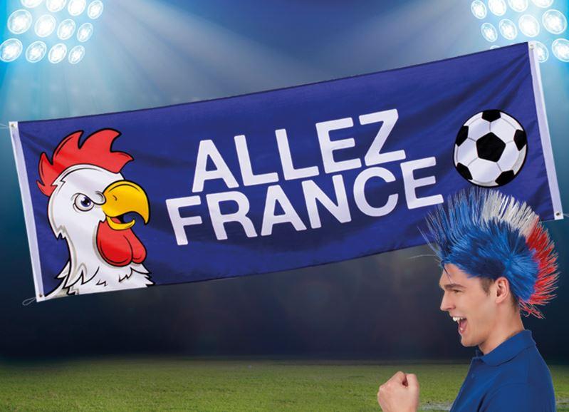 Spandoek Frankrijk, Franse Banner met haan en voetbal, tekst 'Allez France' 74x220cm