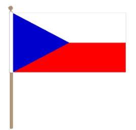 Zwaaivlag Tsjechië, Tsjechische fanvlag 30x45cm, stoklengte 60cm