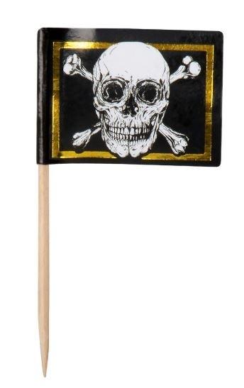 Cocktailprikkers Piraten doodshoofd 24 stuks