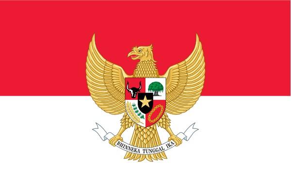 Vlag Indonesie met wapen