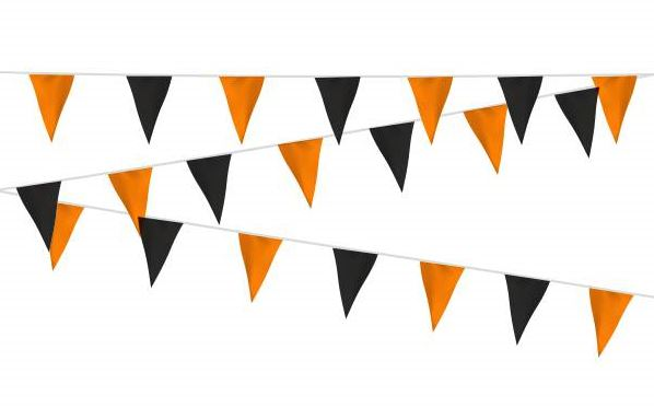 Vlaggenlijn zwart/oranje, oranje/zwart sof 20m, extra zware kwaliteit