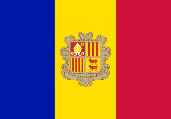 Andorreese vlag 100x150 Andorra vlaggen kopen