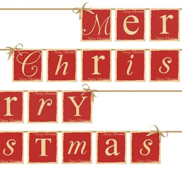 vlaggenlijn Merry Christmas in rood met goud