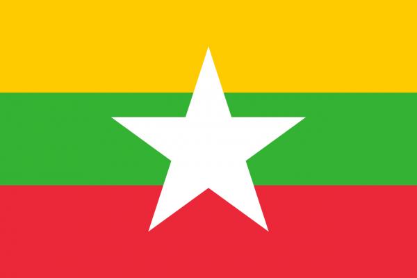 Tafelvlag Myanmar met standaard