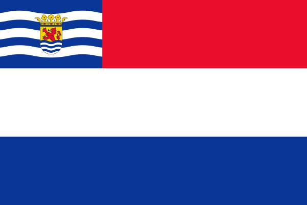 Vlag Nederland met inzet Zeeuwse vlag 70x100cm 165gr/m2 spun