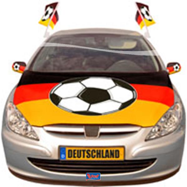 Motorkaphoes Duitsland met voetbal auto versiering