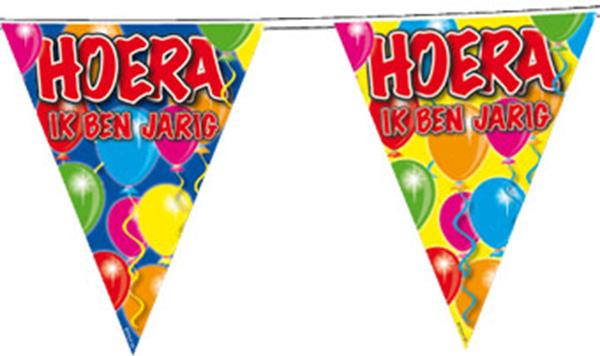 Vlaggenlijn HOERA IK BEN JARIG ballonnen 10m
