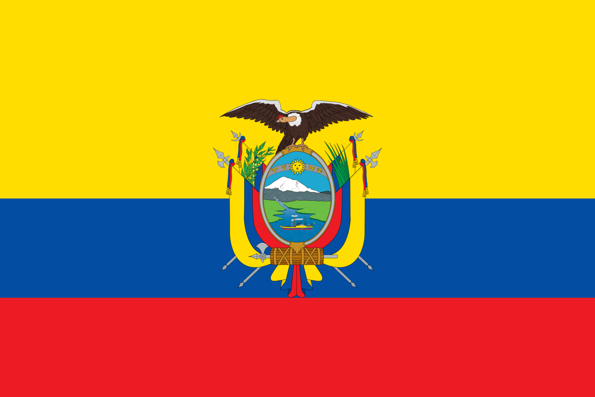Tafelvlaggen Ecuador | Ecuadoriaans tafel vlaggetje 10x15cm kopen bij Vlaggenclub