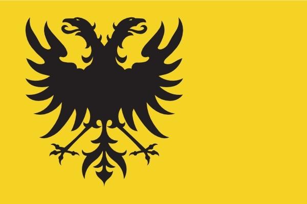 Vlag gemeente Naarden met wapen links 150x225cm