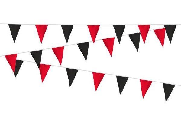 Vlaggenlijn rood/zwart stof 20m, extra zware kwaliteit