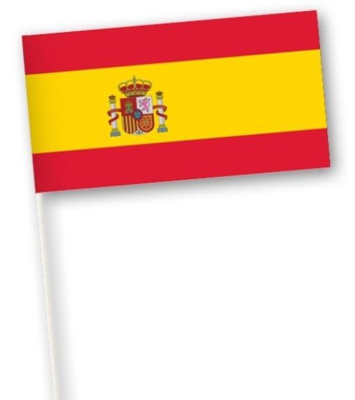 Zwaaivlaggetje Spanje 11x21cm, stoklengte 40cm
