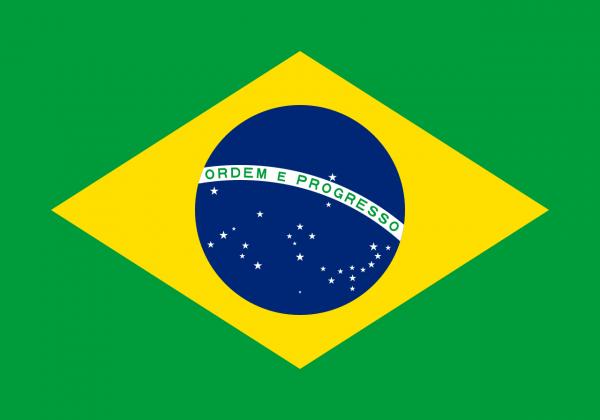Tafelvlag Brazilie met standaard