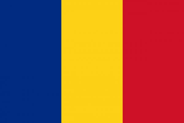 Tafelvlag Roemenie met standaard