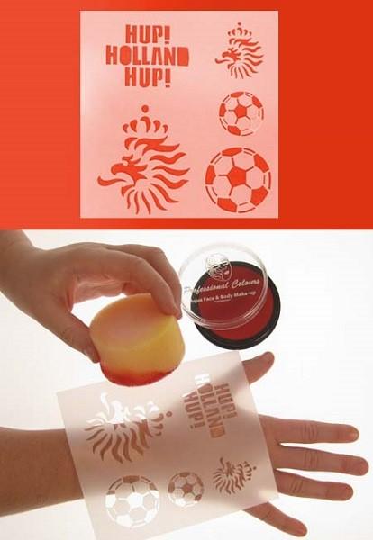 schminksjabloon 12x13 cm voetbal, leeuw en hup holland hup EK | WK