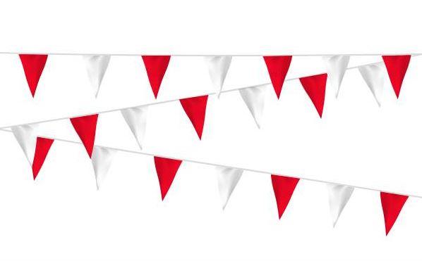 Vlaggenlijn stof rood wit wit rood extra lang 40m1 zware kwaliteit