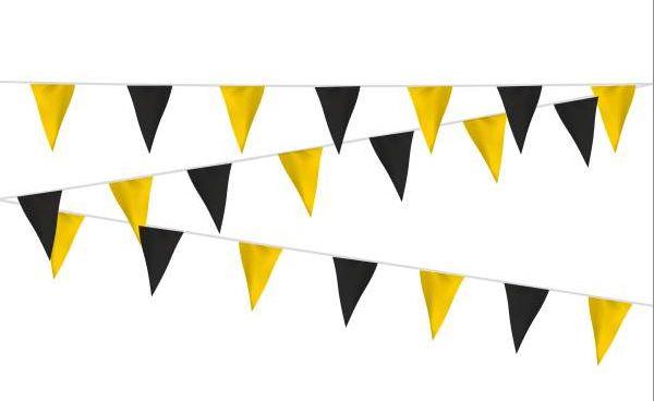 Vlaggenlijn stof zwart/geel, geel/zwart 20m extra zware kwalitiet