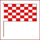 Zwaaivlag Start 30x45cm op houten stok lengte 60cm rood/wit geblokt