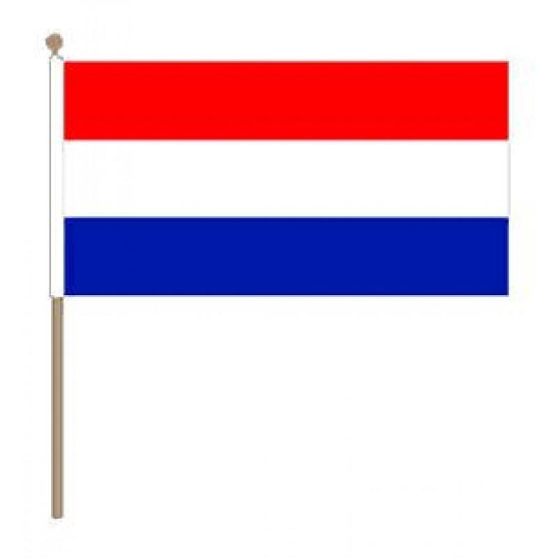 Zwaaivlag Nederland Rood Wit Blauw 15x22,5cm, stoklengte 30cm