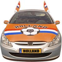 Oranje motorkap hoes met voetbal EK WK auto versiering