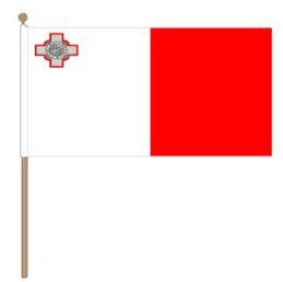 Zwaaivlag Malta, Maltese zwaaivlag 30x45cm, stoklengte 60cm