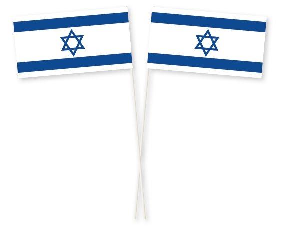 Zwaaivlaggetje Israël, Israëlische zwaaivlag 11x21cm, stoklengte 40cm
