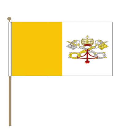 Zwaaivlag Vaticaanstad 15x22,5cm, stoklengte 30cm