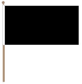 Zwaaivlag zwart 15x22,5cm met stok van 30cm