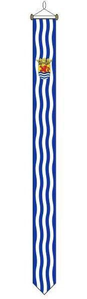 Zeeuwse wimpel traditioneel met blauw/wit golfjes 25x300cm met stokje