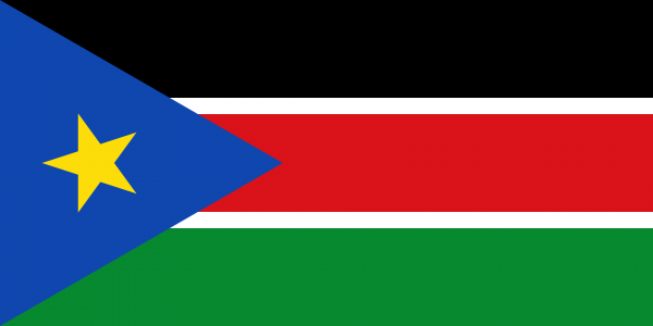 Vlag Zuid Soedan 100x150cm Glanspoly