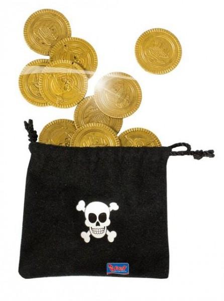 Piraten zwarte geldbuidel met 10 gouden muntstukken, ducaten