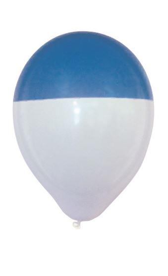 Ballonnen blauw wit bicolour 25 stuks