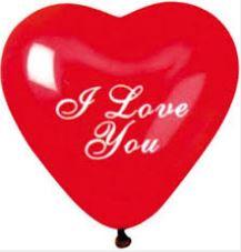 Ballon 'I Love You' rood en hartvormig