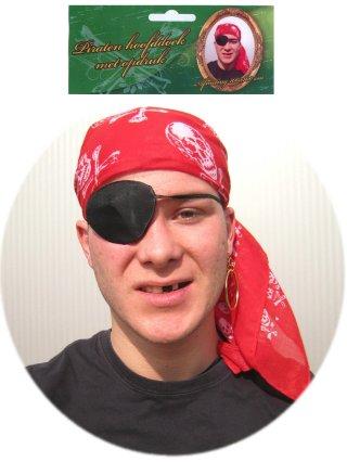 Rode Piraten bandana hoofddoek