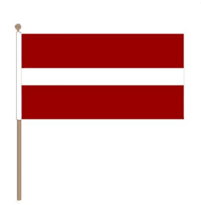 Zwaaivlag Letland 15x22,5cm, stoklengte 30cm